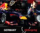 Sebastian Vettel festeggia la vittoria nel Gran Premio di Germania 2013