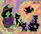 Strega con i loro gatti neri