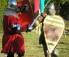 Due soldati che combattono con spade e scudi
