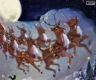 La renna magica tirando la slitta