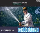 Lewis Hamilton festeggia la sua vittoria del Grand Prix di Australia 2015