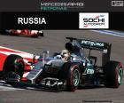 Lewis Hamilton, secondo nel Gran Premio di Russia 2016 con la sua Mercedes