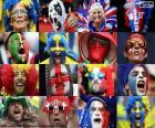 Facce dei tifosi di alcuni dei paesi che partecipano alla UEFA Euro 2016 in Francia