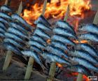 Sardine cotte con legna