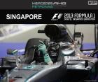 Nico Rosberg celebra la sua ottava vittoria della stagione del Grand Prix di Singapore 2016