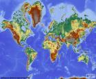 Mappa di mondo con rilievo