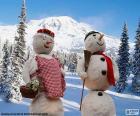 Un paio di bambole di neve