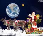 La slitta di Babbo Natale sulle nuvole