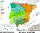 Mappa di fiumi in Spagna
