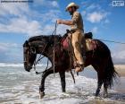 Cowboy in riva al mare