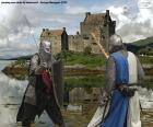 Due cavalieri che combattono in battaglia