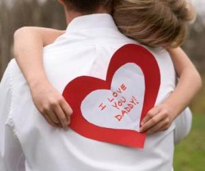 Rompicapo di Regazza congratulandosi con suo padre con un abbraccio e un cuore di carta