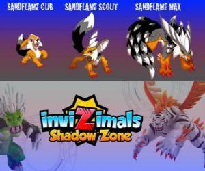 Rompicapo di Sandflame Cub, Sandflame Scout, Sandflame Max. Invizimals Le creature ombra. Queste Invizimals hanno protetto per secoli le tombe dei Faraoni