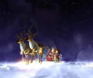 Rompicapo di Santa Claus che vola sul suo slitta di Natale trainata da renne magiche