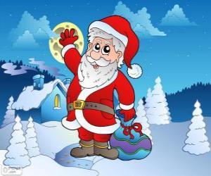 Rompicapo di Santa Claus  in un paesaggio innevato