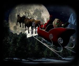Rompicapo di Santa Claus nella sua magica slitta trainata da renne volanti nella notte di Natale