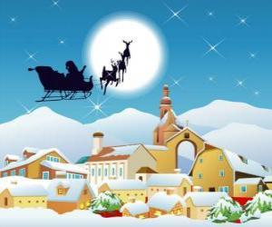 Rompicapo di Santa Claus nella sua slitta volante trainata da renne magiche