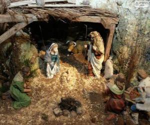 Rompicapo di Scena della Natività di Gesù in una stalla vicino a Betlemme