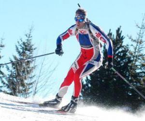Rompicapo di Sciatore in pieno sforzo nella pratica dello sci di fondo o sci nordico
