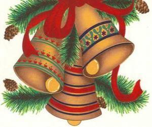 Rompicapo di Set di tre campane ornato con decorazioni di Natale