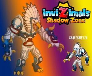 Rompicapo di Shapeshifter. Invizimals Le creature ombra. Totem enorme con immenso potere è il dio dei boschi dei nativi americani