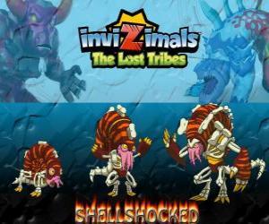 Rompicapo di Shellshocked, ultima evoluzione. Invizimals Le Tribù Scomparse. Una creatura magica eccentrica che vive solo nelle grotte
