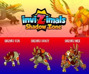 Rompicapo di Shizoku Cub, Shizoku Scout, Shizoku Max. Invizimals Le creature ombra. Un maiale samurai che viene dal Giappone feudale, un guerriero in armatura