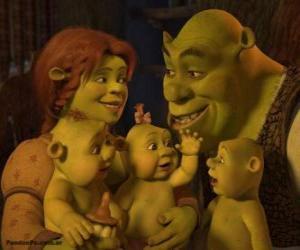 Rompicapo di Shrek e Fiona e di amore molto felici con i loro tre figli