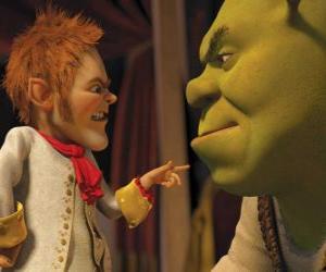 Rompicapo di Shrek è ingannato con la firma di un patto con il negoziatore affabile Tremotino
