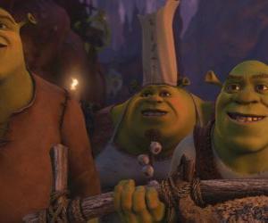 Rompicapo di Shrek insieme ad altri orchi.