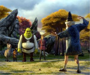 Rompicapo di Shrek, l'orco con i suoi amici Ciuchino, il Gatto con gli Stivali e Artù, Merlino watching