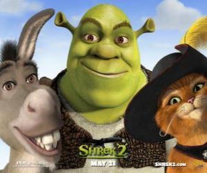 Rompicapo di Shrek, l'orco con i suoi amici Ciuchino e Gatto con gli stivali