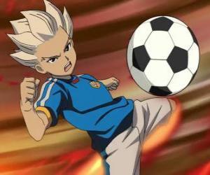 Rompicapo di Shuya Gouenji o Axel Blaze, attaccante e miglior marcatore della squadra Raimon nel avventure di Inazuma Eleven