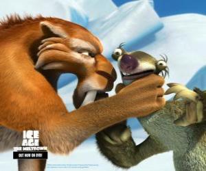 Rompicapo di Sid nervoso davanti alla minaccia presenza di Diego, il tigre dai denti a sciabola