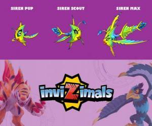 Rompicapo di Siren in tre fasi Siren Pup, Siren Scott e Siren Max, Invizimals
