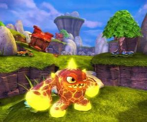 Rompicapo di Skylander Eruptor, una creatura che lancia palle di fuoco e fiamme. Skylanders Fuoco