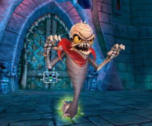 Rompicapo di Skylander Ghost Roaster, una creatura che mangia i fantasmi cattivi. Skylanders Morti viventi