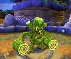 Rompicapo di Skylander Stump Smash, la creatura martello ha tronchi al posto delle braccia. Skylanders Vita