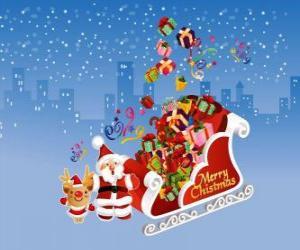 Rompicapo di slitta di Babbo Natale pieno di regali di Natale