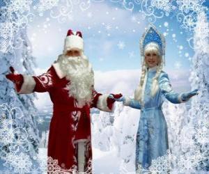 Rompicapo di Snegurochka o la Fanciulla della Neve e Det Moroz o Nonno Gelo, il russo di Natale tradizionali caratteri