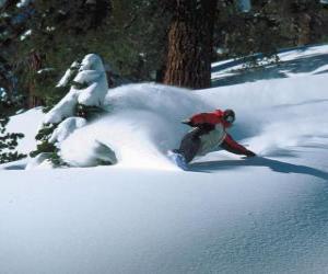 Rompicapo di Snowboarder decrescente in neve fresca