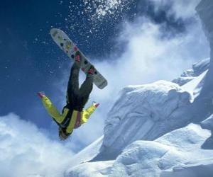 Rompicapo di Snowborder in un salto