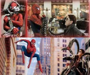 Rompicapo di Spiderman lotta contro il malvagio Dottor Octopus, uno dei suoi più grandi nemici