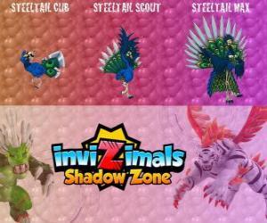 Rompicapo di Steeltail max. Invizimals Le creature ombra. Uccello spettacolare, la coda è una potente arma di piume d'acciaio