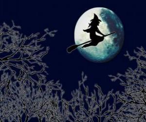 Rompicapo di Strega maliziosa nella sua scopa magica di volo verso il castello in una notte di luna piena