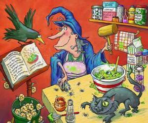 Rompicapo di Strega preparando una pozione magica dal strani ingredienti