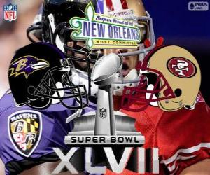 Rompicapo di Super Bowl 2013. San Francisco 49ers vs Baltimore Ravens. Superdome, New Orleans