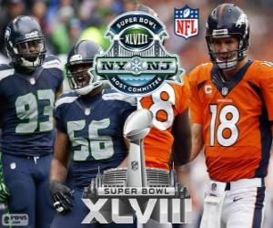 Rompicapo di Super Bowl 2014. Seattle Seahawks vs Denver Broncos. MetLife Stadium, nel New Jersey, 2 febbraio 2014