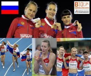 Rompicapo di Tatiana Firova campione di 400 m, Xenia Krivoshapka Ustalova e Antonina (2 ° e 3 °) di atletica leggera Campionati europei di Barcellona 2010
