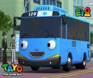 Rompicapo di TAYO un autobus blu allegro e ottimista